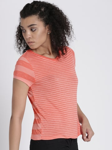 Chemistry Women Peach Striped V-Neck T-shirt Chemistry Tshirts at myntra