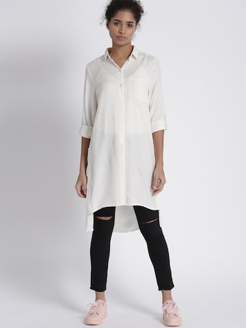 Chemistry Women Off-White Self Design Shirt Style Top Chemistry Tops at myntra
