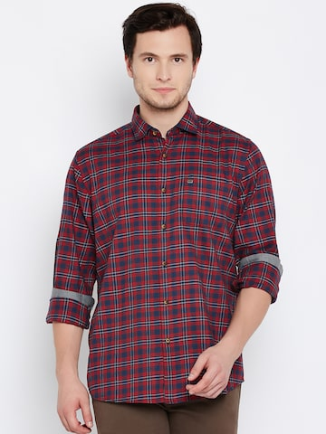 Blackberrys Men Red & Navy Blue Slim Fit Checked Casual Shirt at myntra