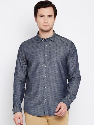 Blackberrys Men Navy & Grey Slim Fit Self-Design Casual Shirt at myntra