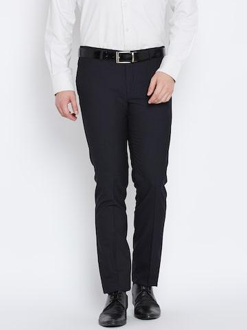 Blackberrys Men Navy Sharp Fit Self-Design Formal Trousers at myntra