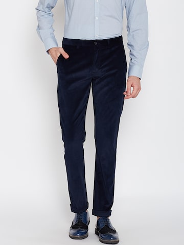Blackberrys Men Navy Sharp Solid Casual Trousers at myntra