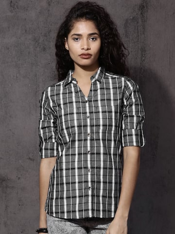 Roadster Women Grey & White Regular Fit Checked Casual Shirt Roadster Shirts at myntra