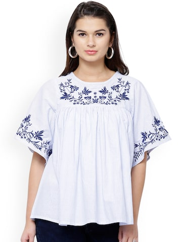 Tokyo Talkies Women White & Blue Striped & Embroidered Top at myntra