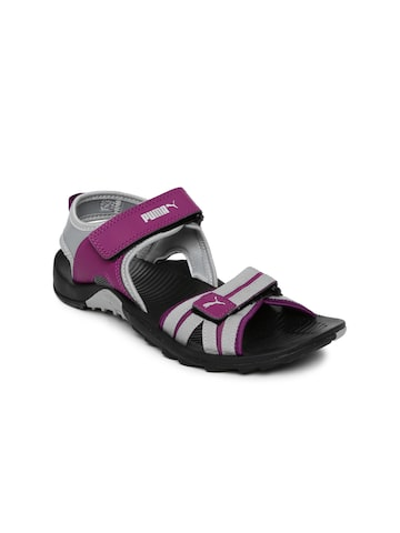 Puma Women Grey & Purple Comfy DP Sports Sandals at myntra