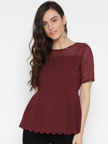 Wills Lifestyle Women Maroon Solid Cinched Waist Top Wills Lifestyle Tops at myntra
