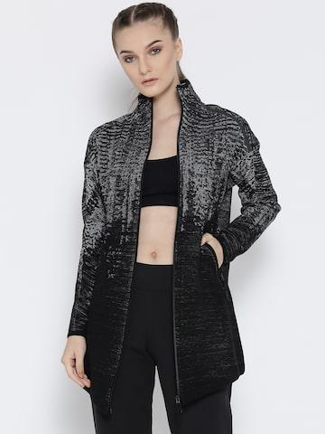 Adidas Women Black ZNE KN PLS CVUP Self-Design Sporty Jacket at myntra
