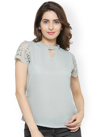 plusS Women Grey Solid Top at myntra