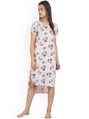 Soie Pink Printed Sleep Shirt NT-61 at myntra