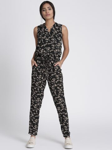 Chemistry Black Printed Jumpsuit Chemistry Jumpsuit at myntra