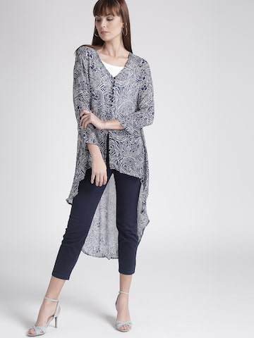 Chemistry Navy & White Printed High-Low Shrug Chemistry Shrug at myntra