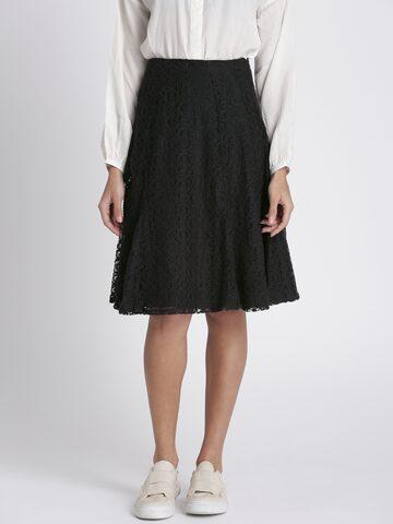 Chemistry Black A-line Lace Skirt Chemistry Skirts at myntra