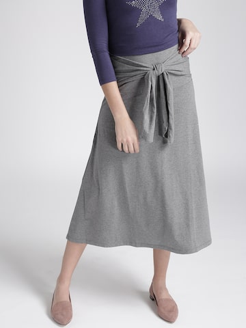 Chemistry Grey Melange Midi A-line Skirt with Front Tie-Up Chemistry Skirts at myntra