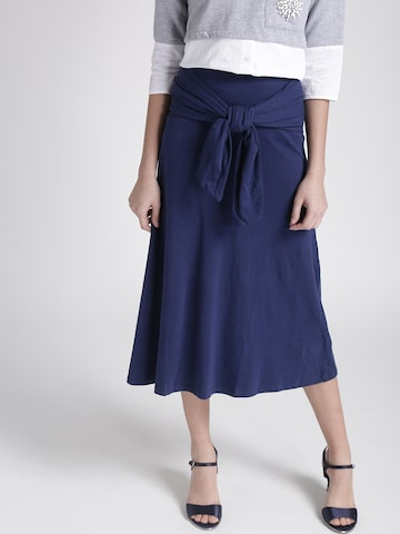 Chemistry Navy Midi A-line Skirt with Front Tie-Up Chemistry Skirts at myntra