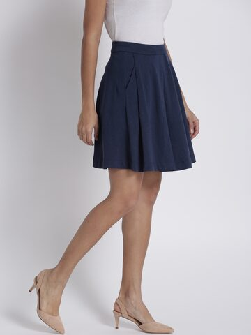 Chemistry Navy A-Line Flared Skirt Chemistry Skirts at myntra