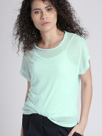 Chemistry Women Sea Green Solid T-shirt with Camisole Chemistry Tshirts at myntra