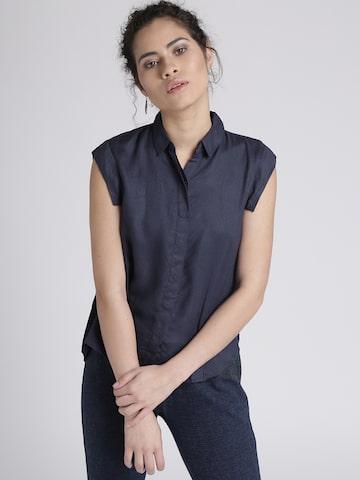Chemistry Women Navy Self-Design Casual Shirt Chemistry Shirts at myntra
