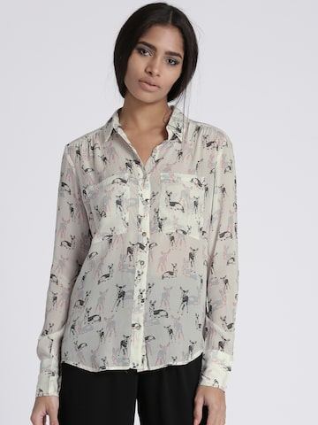 Chemistry Women Off-White Regular Fit Printed Casual Shirt Chemistry Shirts at myntra