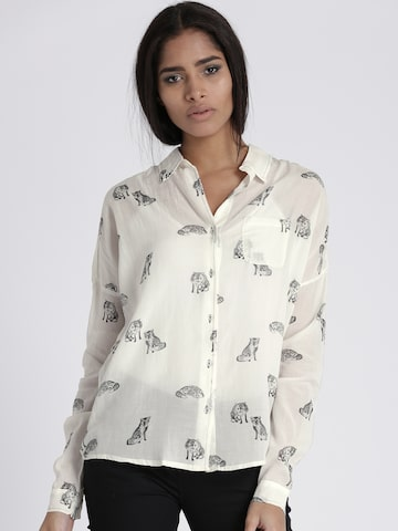 Chemistry Women Off-White & Grey Regular Fit Printed Casual Shirt Chemistry Shirts at myntra