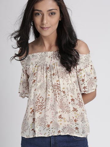 Chemistry Women Off-White Printed Semi-Sheer Bardot Top Chemistry Tops at myntra