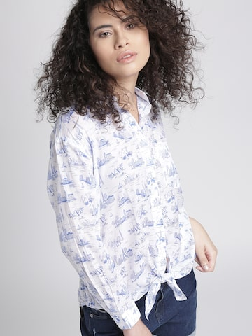 Chemistry Women White & Blue Printed Casual Shirt Chemistry Shirts at myntra