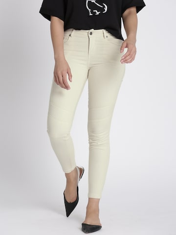 Chemistry Women Beige Regular Fit Solid Trousers Chemistry Trousers at myntra
