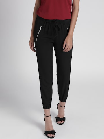 Chemistry Women Black Regular Fit Solid Joggers Chemistry Trousers at myntra