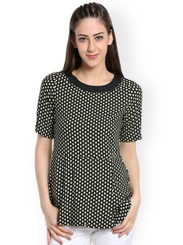 109F Women Black Polka Dot Print A-Line Top at myntra