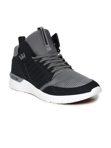 Supra Men Grey Colourblocked Leather Mid-Top Sneakers Supra Casual Shoes at myntra