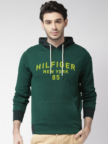Tommy Hilfiger Men Green Printed Hooded Sweatshirt Tommy Hilfiger Sweatshirts at myntra