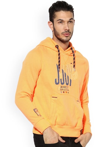 Jn Joy Men Orange Solid Hooded Sweatshirt Jn Joy Sweatshirts at myntra