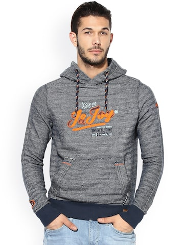 Jn Joy Men Grey Striped Hooded Sweatshirt Jn Joy Sweatshirts at myntra