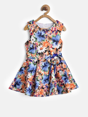 Tiny Girl Girls Orange & Blue Printed Fit & Flare Dress Tiny Girl Dresses at myntra