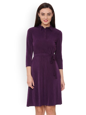 Avirate Women Purple Self Design A-Line Dress Avirate Dresses at myntra
