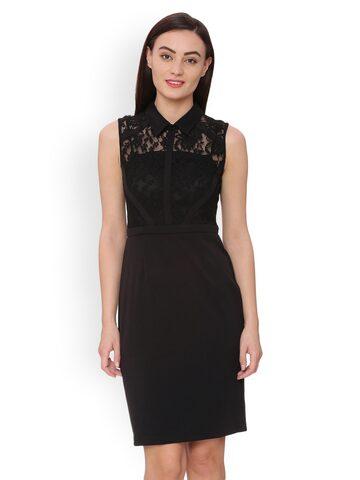 Avirate Women Black Self Design Sheath Dress Avirate Dresses at myntra