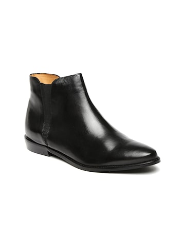 Carlton London Women Black Leather Flat Boots Carlton London Casual Shoes at myntra
