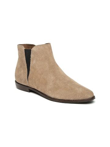 Carlton London Women Khaki Leather Flat Boots Carlton London Casual Shoes at myntra