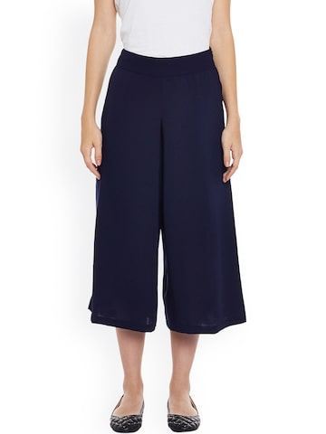 Nun Women Navy Regular Fit Solid Culottes Nun Trousers at myntra