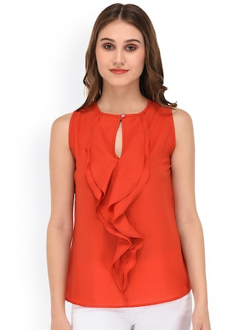 PURYS Women Orange Solid Top at myntra