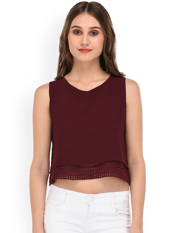 PURYS Women Maroon Solid Layered Crop Top at myntra