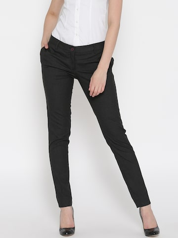 Park Avenue Women Charcoal Grey Solid Formal Trousers Park Avenue Trousers at myntra