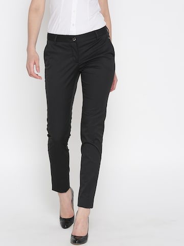 Park Avenue Women Charcoal Grey Pinstriped Formal Trousers Park Avenue Trousers at myntra