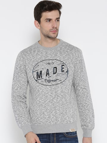 Allen Solly Men Grey Melange Printed Sweatshirt Allen Solly Sweatshirts at myntra