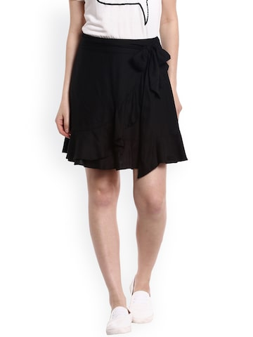 20Dresses Black Wrap Skirt at myntra