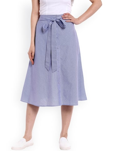 20Dresses Blue & White Striped A-Line Skirt at myntra