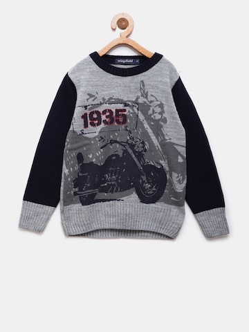 Wingsfield Boys Grey & Navy Printed Sweater Wingsfield Sweaters at myntra