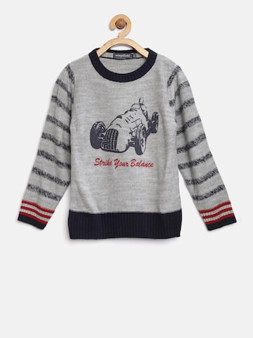 Wingsfield Boys Grey Printed Pullover Wingsfield Sweaters at myntra