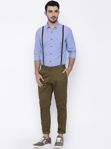 Indigo Nation Men Olive Green Ultra Slim Fit Solid Chinos Indigo Nation Trousers at myntra