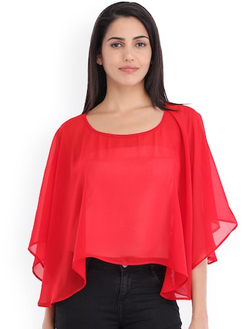 Cottinfab Women Red Solid Poncho Top Cottinfab Tops at myntra