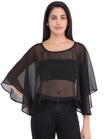 Cottinfab Women Black Solid Sheer Poncho Top Cottinfab Tops at myntra